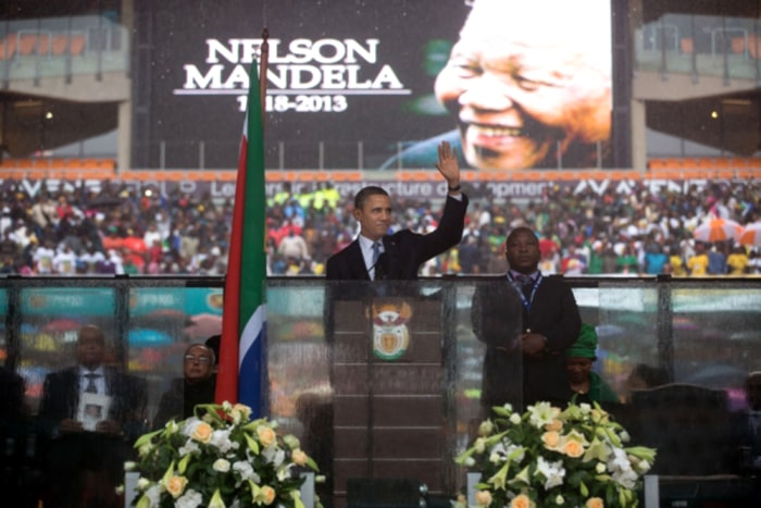 President Obama speaks at the memorial service for Nelson Mandela in Soweto, South Africa, Dec. 10, 2013.