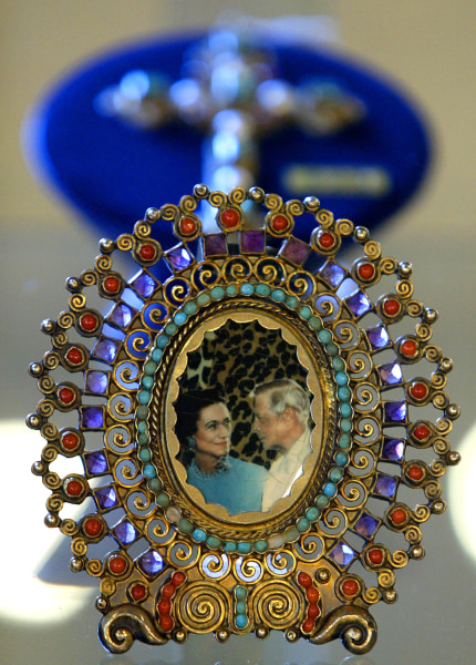 A cameo depicting Edward VIII with Wallis Simpson, the American divorcee woman for who Edward VIII abdicated from the British throne, is seen at Chris...
