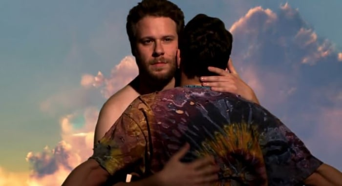 "James Franco and Seth Rogen doing their best ""Kimye"" impression."