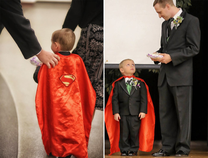 The couple's son Kal-El, in a superhero cape.