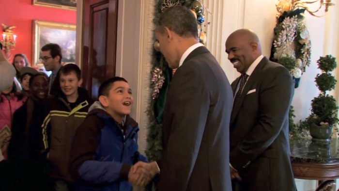 "A young boy named Jordan gets a surprise greeting from President Obama while on a White House Christmas tour. ""You have ears just like mine,'' Obama told him."
