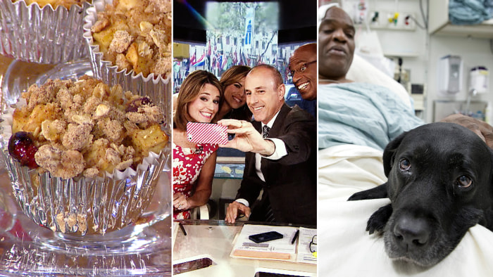 Viewers make low-cal desserts, TODAY looks back at 2013's funniest moments and fans show support for man who fell in tracks.