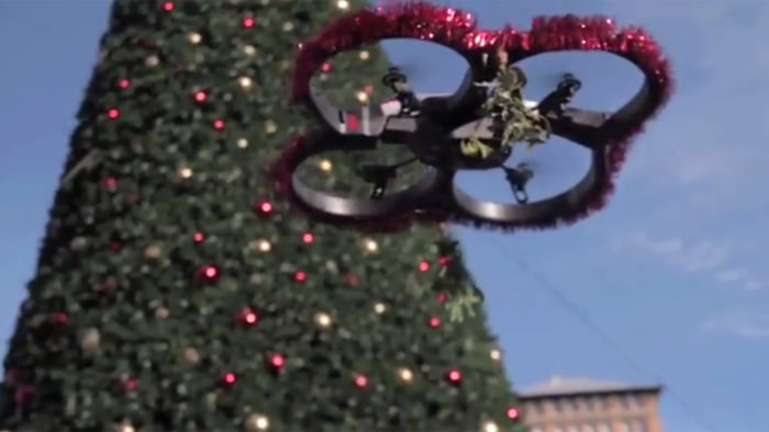 "The ""mistletoe drone"" is the latest interactive project in San Francisco by artist George Zisiadis."