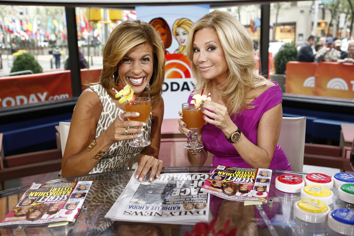 "TODAY -- Pictured: (l-r) Hoda Kotb and Kathie Lee Gifford appear on NBC News' ""Today"" show -- (Photo by: Peter Kramer/NBC/NBC NewsWire)"