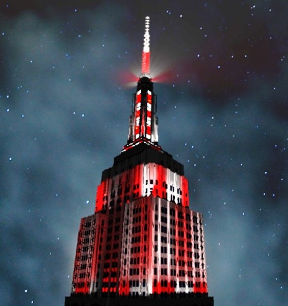 Empire State Building lit up like a candy cane.