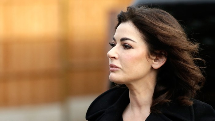 ISLEWORTH, ENGLAND - DECEMBER 05:  Nigella Lawson arrives at Isleworth Crown Court on December 5, 2013 in Isleworth, England. Italian sisters Francesc...