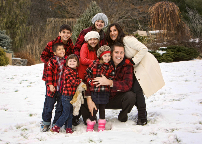 """Rachel Campos-Duffy and husband Sean Duffy with their six children. Christians who worry about """"putting the Christ back in Christmas"""" should start at home, Rachel writes."""