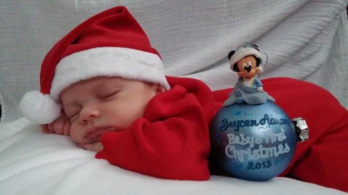 Brycen Aaron born Nov. 2, showing his Christmas spirit.