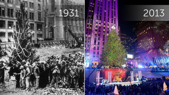 On the left, construction workers line up for pay beside one of the first-ever Rockefeller Center Christmas trees in New York in 1931. On the right, the tree is lit during a ceremony on Wednesday, Dec. 4, 2013.
