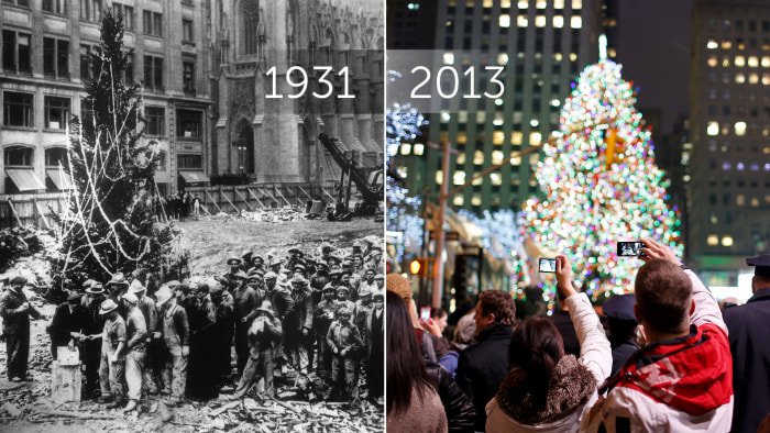 On the left, the unofficial Christmas tree on Christmas Eve, 1931. On the right, spectators enjoy the 81st annual tree lighting ceremony on Dec. 4, 2013.