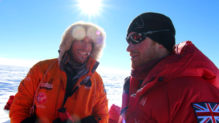 Prince Harry, right, and Heath Jamieson are pictured in Antarctica on Dec. 5 during the South Pole Allied Challenge expedition for Walking with the Wounded.
