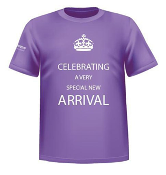 Heathrow Airport in London handed gift boxes with this t-shirt to the first 1,000 passengers who flew in and out of its terminals after the birth of Prince George.
