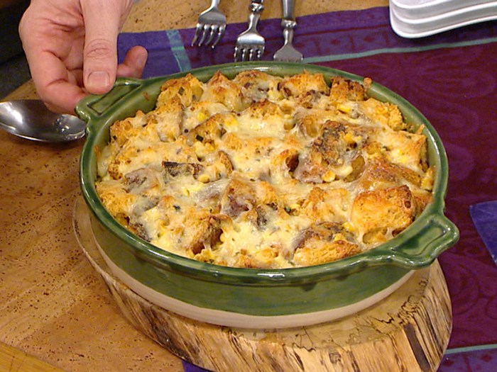 Savory bread pudding with corn, cheddar and thyme
