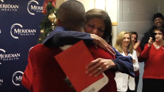 Mom and son shared a big hug.