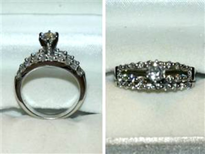 The engagement ring and wedding ring for which Rusty Jones exchanged six Chiefs-Broncos tickets.