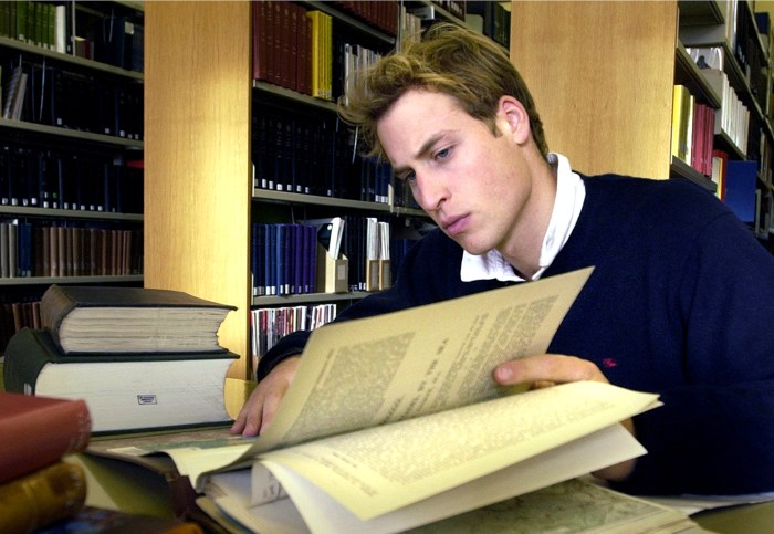 Prince William studies on Nov. 15, 2004 in the main library at University of St Andrews in Scotland, where he was a student.