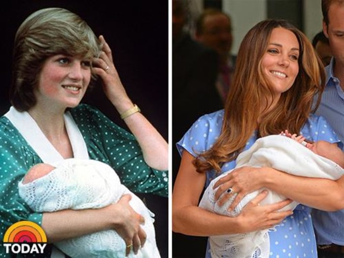 Then and now: Duchess Kate introduces the world to her newborn prince – just as Princess Diana did 31 years ago (polka-dot dress and all).