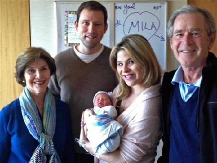 "Meet Mila! The Bush family introduced their newest addition, Margaret Laura ""Mila"" Hager, to the world Monday morning on TODAY.  The whole family, including Mila's proud grandparents, is happy and healthy!"