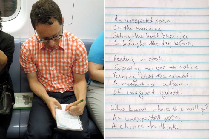 "Jeremy Schwartz writes his poem, ""An Unexpected Poem""."
