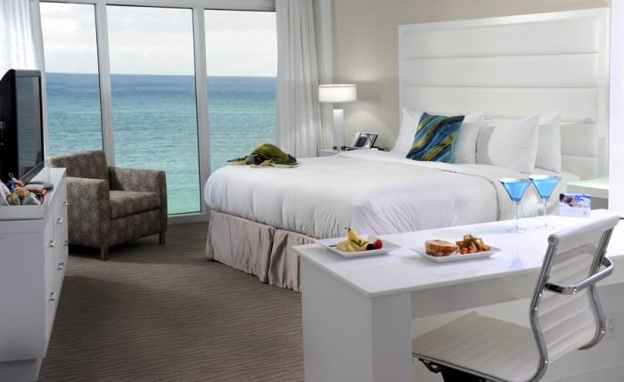 Hotel room overlooking ocean