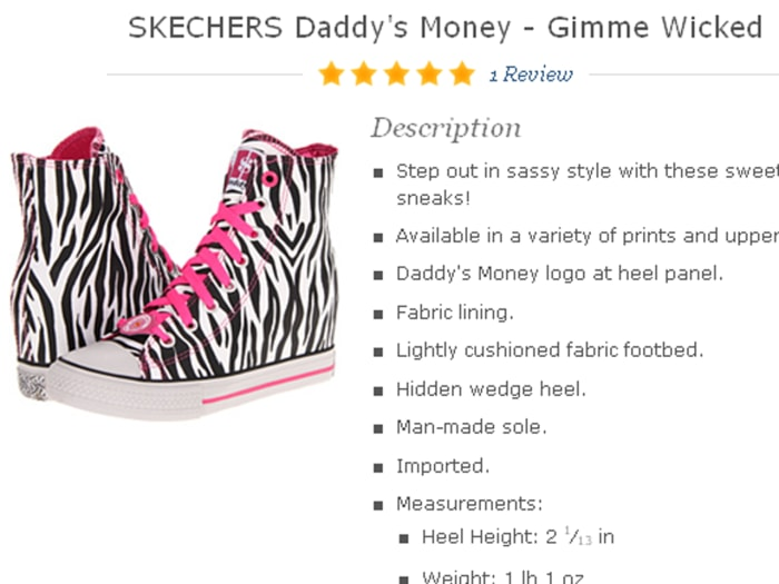Skechers' latest collection, called Daddy's Money, is available on Zappos.com. The collection has been highly criticized by parents.