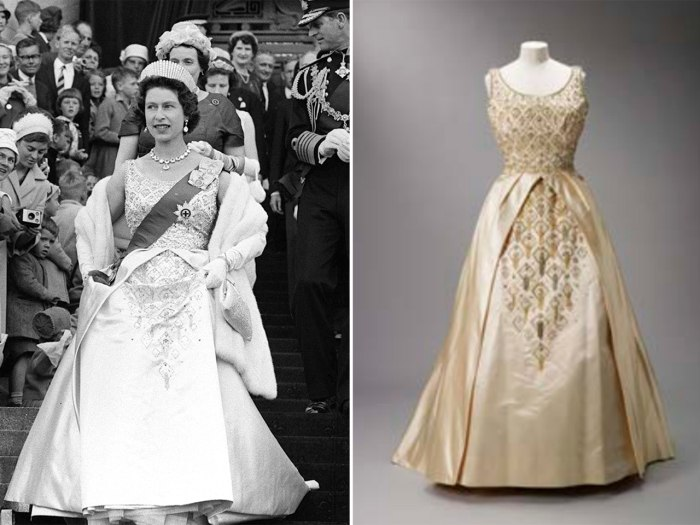 "Queen Elizabeth wears a Norman Hartnell dress for the opening of New Zealand's parliament in 1963, left. The gown is seen as it will be presented at the ""Fashion Rules"" exhibit, right."