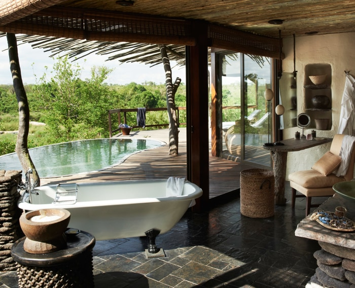 Singita Boulders Lodge, Sabi Sand, Kruger, South Africa. Agency HKLM. Art Director: Paul Henriques. Stylist: Georgina Pennington. Photographer: Mark W...