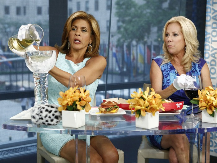 Hoda tries out her ice wine goblet.