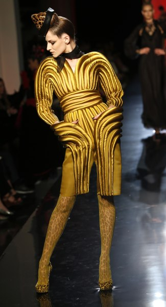 A model wears a creation for Jean-Paul Gaultier's Haute Couture Fall-Winter 2013-2014 collection on July 3, 2013.