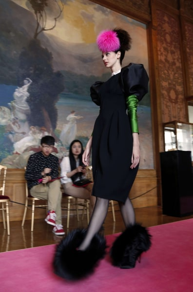 A model presents a creation by Christian Lacroix for Elsa Schiaparelli.