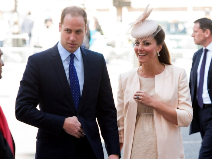LONDON, ENGLAND - JUNE 04:  Prince William, Duke of Cambridge and Catherine, Duchess of Cambridge attend a service marking the 60th anniversary of the...