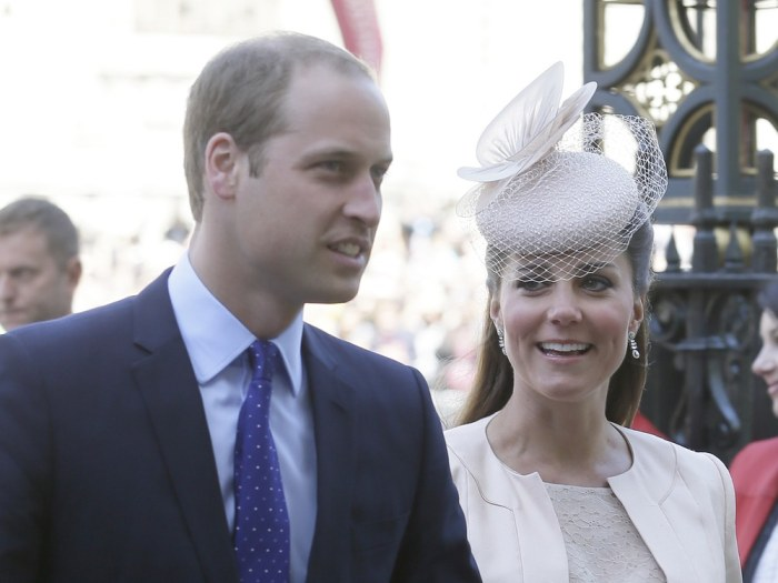 Britain's Prince William and Kate, Duchess of Cambridge,arrive for a service to celebrate the 60th anniversary of the coronation of Britain's Queen El...