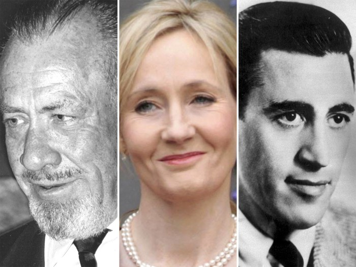 Left to right,l John Steinbeck, JK Rowling and J.D. Salinger