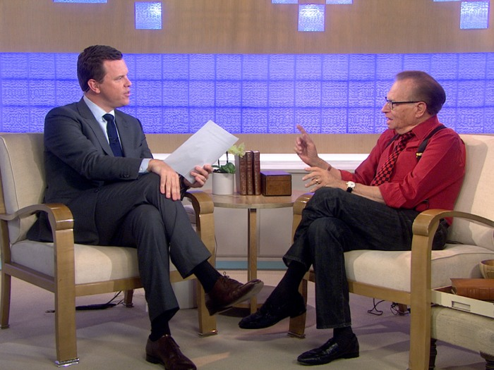 "Larry King discusses his two current programs, including Ora TV's ""Larry King Now,"" with Willie Geist."