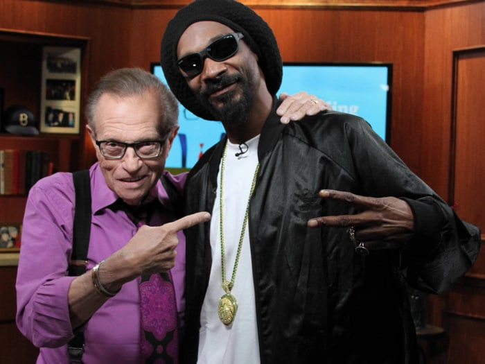 "Larry King poses with Snoop Lion, a guest on his ""Larry King Now"" show."