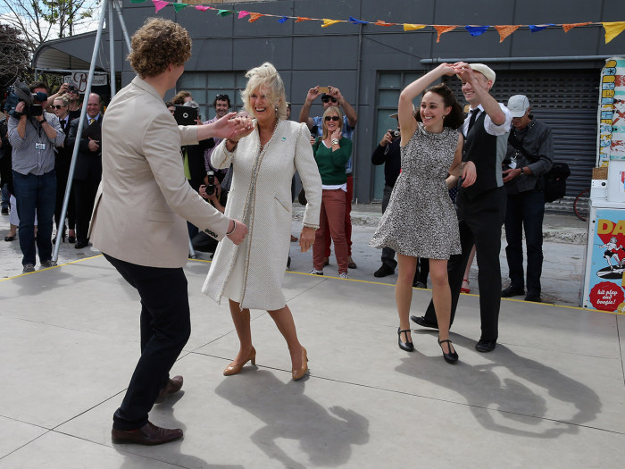 "Image: Camilla dances with with Sam Johnson at a ""Dance-O-Mat"" in Christchurch, New Zealand on Nov. 16, 2012."