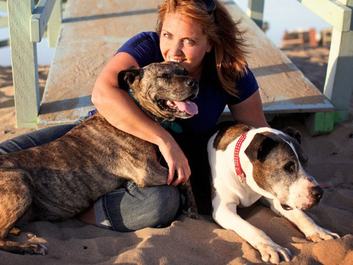 Image: Lori Fusaro with her two dogs, Gabby and Sunny
