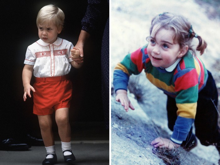 Too cute? Prince William and Duchess Kate are shown in their early years, wearing trousers and jumpers.