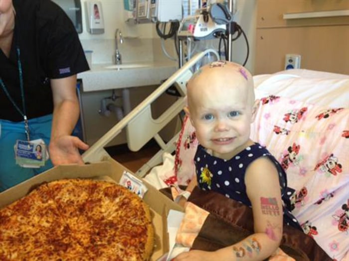 Two-year-old Hazel Hammersley with one of the pizza deliveries made thanks to Reddit users.