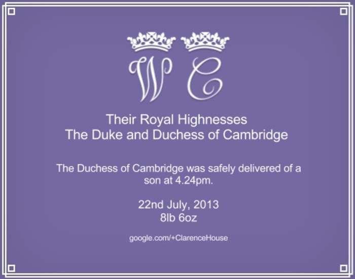 Image: Google+ card for royal baby