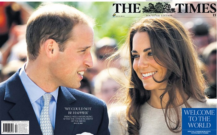 The Times used a wrap-around picture of the royal couple on its front and back cover.