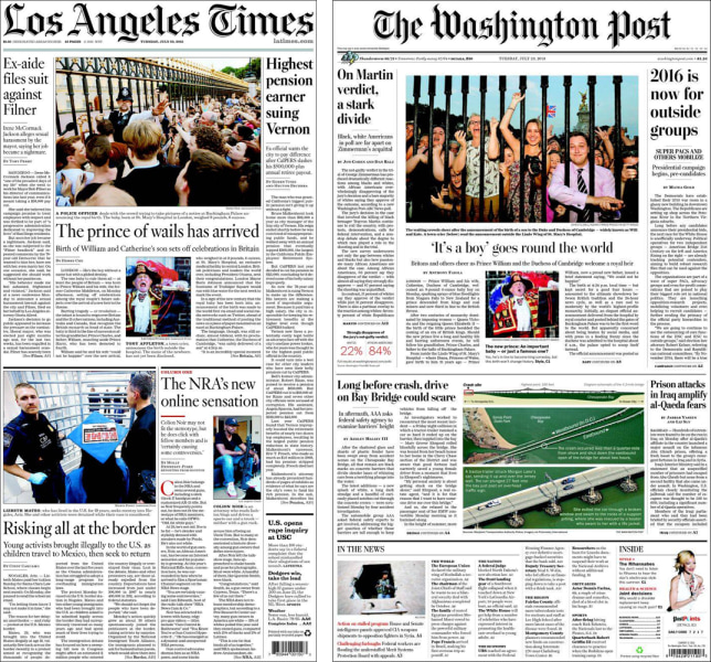 Pictures of well-wishers made the front pages of the Washington Post and LA Times.