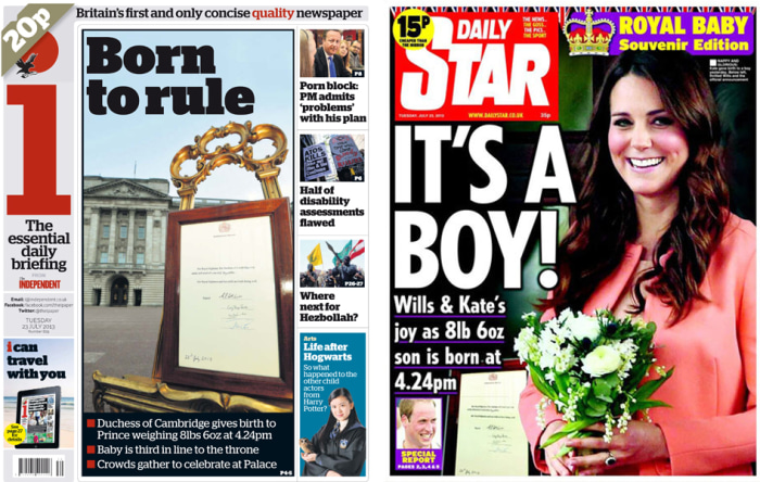The front pages of Britain's I newspaper and the Daily Star