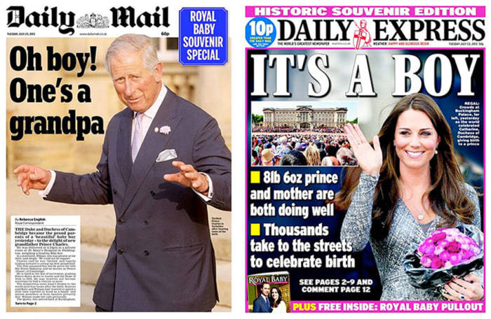 The front pages of the Daily Mail and Daily Express newspapers in Britain.
