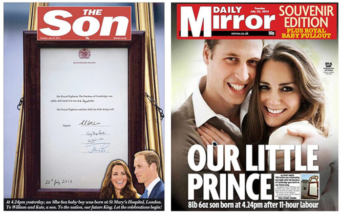 Royal baby headlines in Britain's Sun and Mirror newspapers