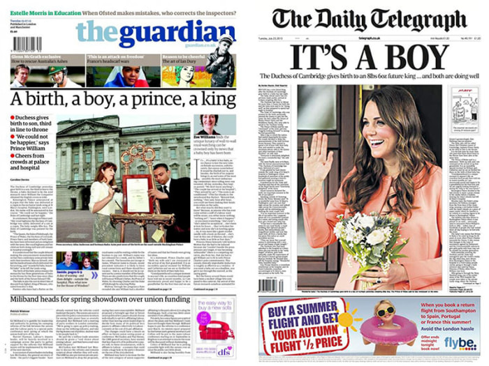 The Guardian and The Daily Telegraph newspapers cover the royal baby.