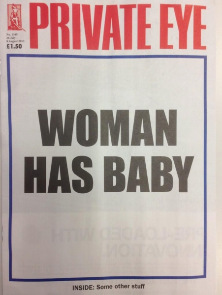 The cover of Britain's satirical magazine Private Eye struck a different tone.