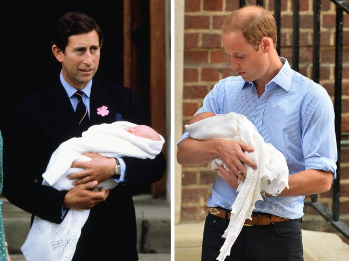 Then and now: Prince Charles and Prince Williams are photographed with their newborn sons.