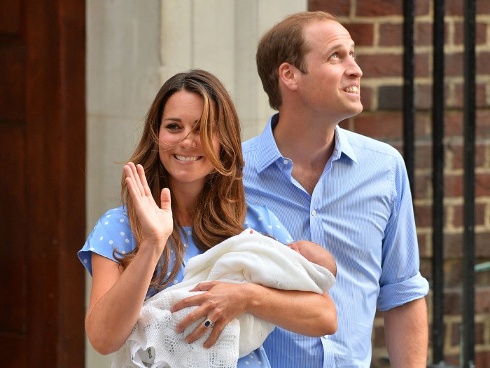 Prince William and Catherine, Duchess of Cambridge show their new-born baby boy to the world's media, on the steps outside the Lindo Wing of St Mary's...