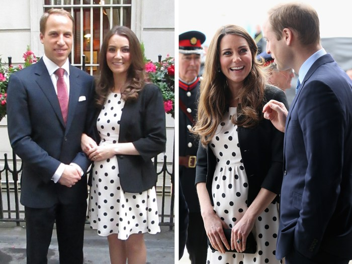 Heidi Agan, seen here with Prince William look-alike Simon Watkinson, shopped high and low to get this Topshop maternity dress that the real Duchess Kate wore in April 2013.
